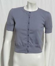 3 THREE DOTS USA Gray Combed Cotton Jersey Knit Button Tee Shirt Top size S EUC