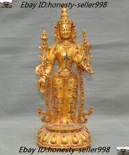 Old Tibetan Buddhism Bronze 24k gold Gilt Inlay gem tara Kwan-Yin Guanyin statue