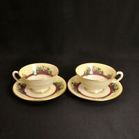 Lenox Set of 2 Pedestal Cups & Saucers Southern Gardens Floral w/Gold 1939-1966