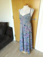 Ladies M&S Dress Size 14 Green Pink Long Midi Chiffon Smart Party Evening Day