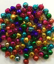 BB 10mm CHRISTMAS BELLS - SHINY MIXED COLOURS pack of 50 jingle craft
