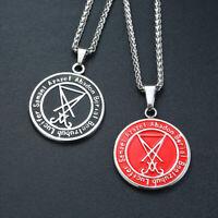 Mens Retro Sigil of Lucifer Pendant Necklace Pagan Occult Satanic Inverted Cross