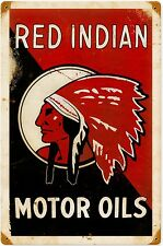 Red Indian Motor Oil rusted metal sign     (pst 1812)