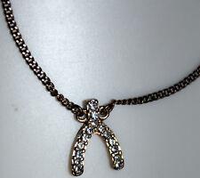 Pendant & 7-1/2-inch Chain Bracelet Express Elegent 15 Stone Jewelry Horseshoe