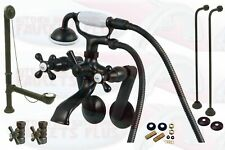 Oil Rubbed Bronze Clawfoot Tub Faucet Drain Supplies Stops Package Kit