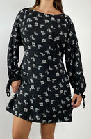 NEW ATMOS & HERE Black Floral Print Long Sleeve Belted Dress Size AU 14 Boho