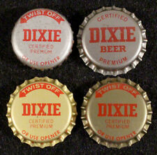 4 DIXIE RED/SILVER+RED/GOLD PLASTIC BEER BOTTLE CAP NEW ORLEANS, LOUISIANA CROWN