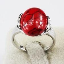 Turquoise Gemstone Fashion  Jewelry 925 Silver Men Women Ring Size 6