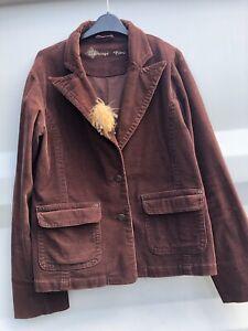 BOHO * Brown Vintage Cord Corduroy Casual Blazer Jacket, New Look, Size UK 16