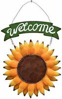 Hanging Metal Sunflower Welcome Sign Sunflower Wall Decor Door Wreath 10''H