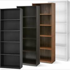 Wood Bookcase 5-Shelf Storage Shelving Book Display Narrow Tall Bookshelf Home