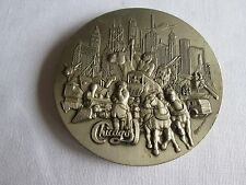 Vintage Rare History of Chicago Pewter Coaster by K. Mager 1975 Illinois Buckle