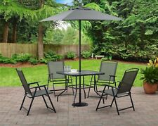 6 Piece Patio Dining Set Outdoor Bistro Table Chairs Umbrella Garden Furniture.