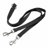 Black Double Dog Pet Lead Leash Splitter Y 1 to 2 Coupler with Clip for Collar