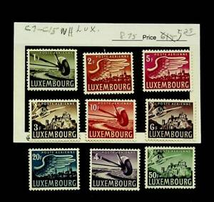 LUXEMBOURG AIRMAIL SET OF 9 MNH STAMPS #C7-15
