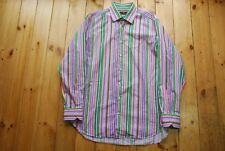 "Men's Etro Italian Striped Colourful Bold Cotton Shirt 43 - XL - 17"""