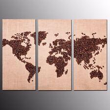 FRAMED HD Canvas Prints Home Decor Bean World Map Wall Art Canvas Painting-3pcs