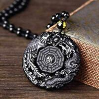 Black Obsidian Carving Wolf Yin Yang Dragon and Phoenix Necklace Pendant A5W0