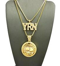 "YRN & QC Pendant 2mm 24"" & 30"" Chain Set 14K Gold Plated"