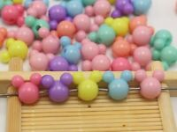 150pcs Mixed Pastel Color Acrylic Mouse Face Beads 12mm Jewelry Making