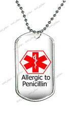 Stainless Steel Dog Tag Allergy Allergic to Penicillin Medical Alert