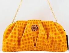 NWT ANTONIO MELANI JILL CROC EMBOSSED SOFT PATENT LEATHER CLUTCH SAFFRON $129