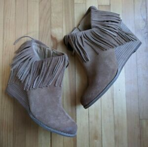 Lucky Brand Yachin Womens Boots Mismatched 10 11 40 41 Brown Fringe Boho