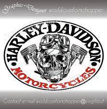 ADESIVO STICKERS DECALCOMANIA SKULL HARLEY DAVIDSON MOTO CUSTOM BOBBER BANDIT
