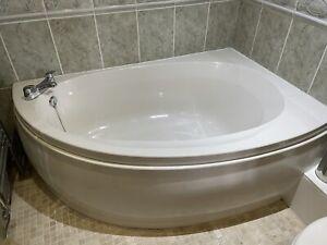 Full Bathroom Suite in Pergamon Including Corner Bath, Basin, Toilet and Taps