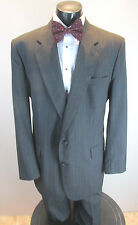 VINTAGE MENS NOWT GREY MUILTI COLORED PINSTRIPE SUIT WOOL TOWN CRAFT 46L S30