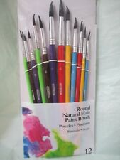 12 PC Assorted Round Tip Artist Paint Art Brush Natural Hair Acrylic Watercolor