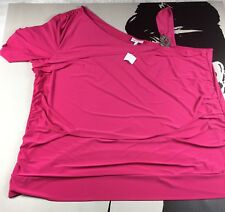 New Fashion Bug Womens One Shoulder Hot Pink Club Top Blouse Stretch Size 4X