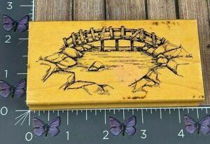 Art Impressions Wood Bridge Over Water Rubber Stamp Wood Pond #AF21