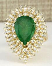 7.82 Carat Natural Emerald 14K Yellow Gold Diamond Ring