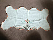 Embroidered Doily Dresser Scarf White Lady skirt Crochet Trim Orange 32 x 16 In