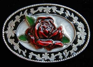 SMALL SIZE ROSE WESTERN STYLE BELT BUCKLE CHILDRENS NEW!