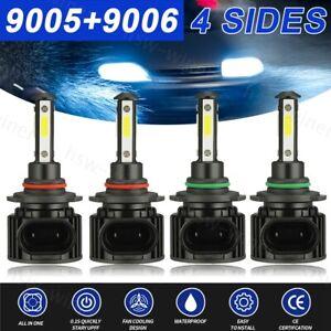 4SIDE 9005+9006 LED Combo Headlight Kit CREE COB 440W Light Bulbs High Low Beam