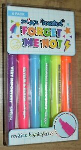 Smiggle Forget Me Not Highlighters 6 pack revision neon rainbow colours scented