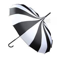 Umbrella Anti UV Sunscreen Rain&Sunny Windproof Strong Pagoda Black&White