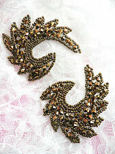 JB186 Glass Beaded Appliques Mirror Pair Bronze Brown Iron On Patch Motifs 2.5""