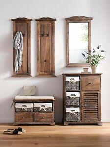Heine home 2 Stck. Wandgarderobe aus massivem Holz braun ca. 2x100/35/9 cm