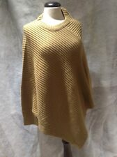 Beige Sleeved Ribbed Knit Poncho Size L