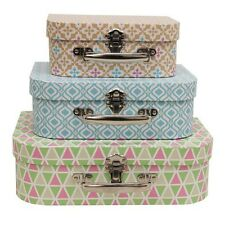 Colorful Suitcase Style Set Of 3 Geo Decorative Storage Boxes Home Office