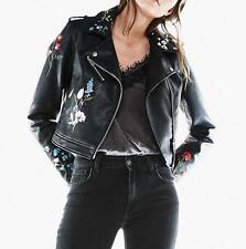 spring women punk flower Floral Embroidered leather jacket outwear short coat