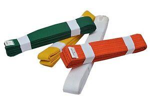 Kids Adults Martial arts Taekwondo Yellow Orange White Karate Belts 215 to 265cm