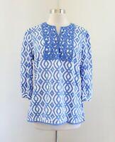 Vineyard Vines Blue White Ikat Print Embellished Tunic Top Blouse Sz S Geometric