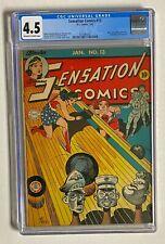 SENSATION COMICS #13 DC Comics 1943 CGC 4.5 Wonder Woman Hitler Mussolini Cover