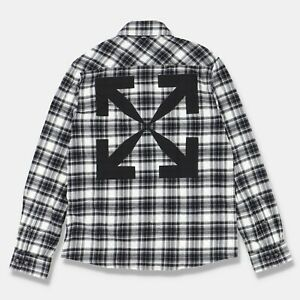 Off-White Grey Plaid Arrows Flannel Shirt   Size S Relaxed Fit SS21 RRP $670