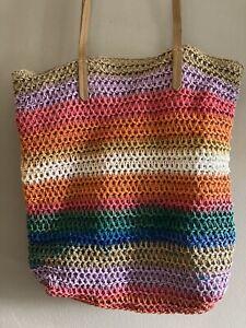 Beach Bag Tote Natural Jute Twine Crochet Multicolor