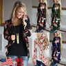 Womens Lace Floral Long Sleeve Kimono Cardigan Blouse Loose Casual Jacket Tops